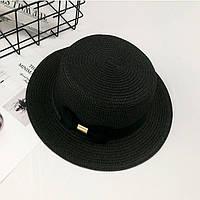 Шляпа женская летняя канотье с бантом черная, фото 1