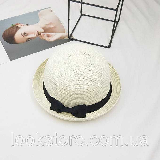 Шляпа женская летняя котелок молочная