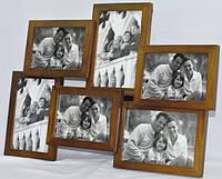 Фотоколлаж на 6 фотографий деревянный