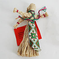 Кукла-мотанка с зелено-коричневым фартушком