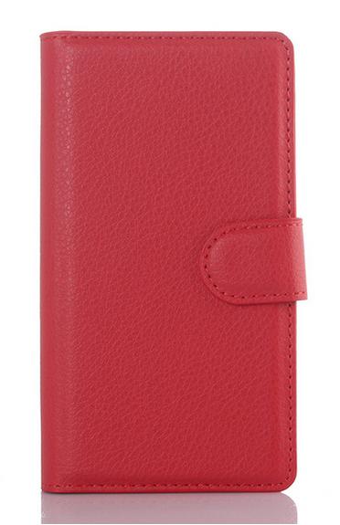 Кожаный чехол-книжка  для Lenovo K3, K30-T, A6000, A6010, A6010 Plus красный