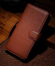 Кожаный чехол книжка для Nokia Lumia 630 коричневый