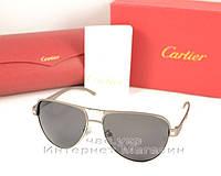 Мужские солнцезащитные очки Cartier  Polarized Aviator оправа металлическая новинка качественная реплика