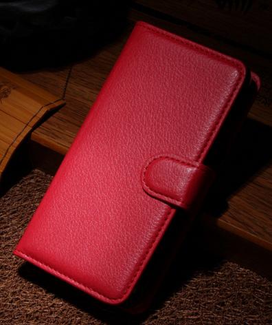 Кожаный чехол книжка для Nokia Lumia 630 красный, фото 2