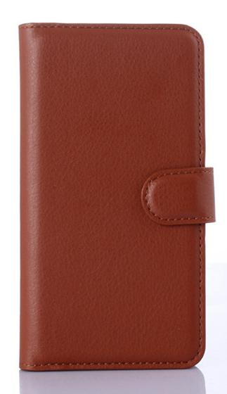 Кожаный чехол-книжка  для Lenovo A2010 коричневый