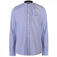 3cc7ddabe42 Рубашка Pierre Cardin Collarless Long Sleeve Stripe Blue White - Оригинал