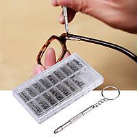 Набор: винты гайки отвертка для ремонта очков часов (1000 шт. в наборе)