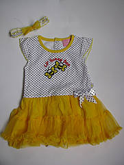 Платье-бодик веселые пчелки и повязочка (Размер 24 мес) Duck Duck Goose