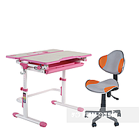 Комплект растущая парта Lavoro L Pink + детское кресло LST3 Orange-Grey FunDesk