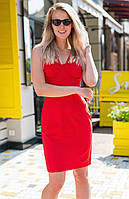 Летнее платье на бретелях красного цвета. Модель 18665. Размеры 42-46, фото 1