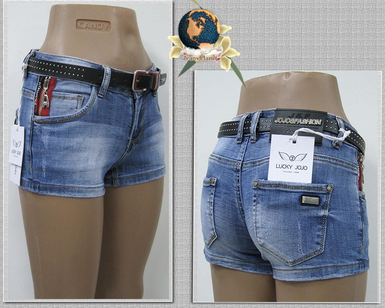 Шорты женские джинсовые короткие с ремнём Lucky 26 размер