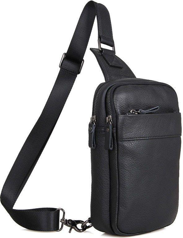 Вертикальная наплечная мужская сумка из натуральной кожи в черном цвете Vintage 14454