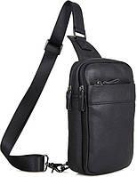 Стильная вертикальная наплечная мужская сумка из натуральной кожи в черном цвете Vintage 14454