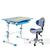 Комплект растущая парта Lavoro L Blue + детский стул для школьника LST3 Blue-Grey FunDesk