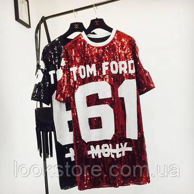 Женское платье туника в стиле Tom Ford 61 с пайетками красное
