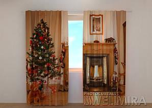 Фото шторы новогодняя Камин