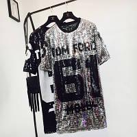 Женское платье туника в стиле Tom Ford 61 с пайетками серебристое, фото 1