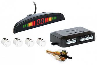 Парктронік автомобільний PAssistant на 4 датчика + LCD (білі датчики) (4903)