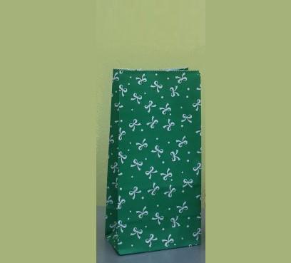 """Пакет подарочный бумажный 9,5х6,5х19 см., 70 г/м2, 100 шт/уп """"Бантик зеленый"""" без ручек, зеленый кра"""