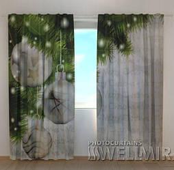 Фото шторы новогодние Серебро