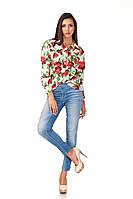 Женская белая рубашка. Модель К090_розы, фото 1