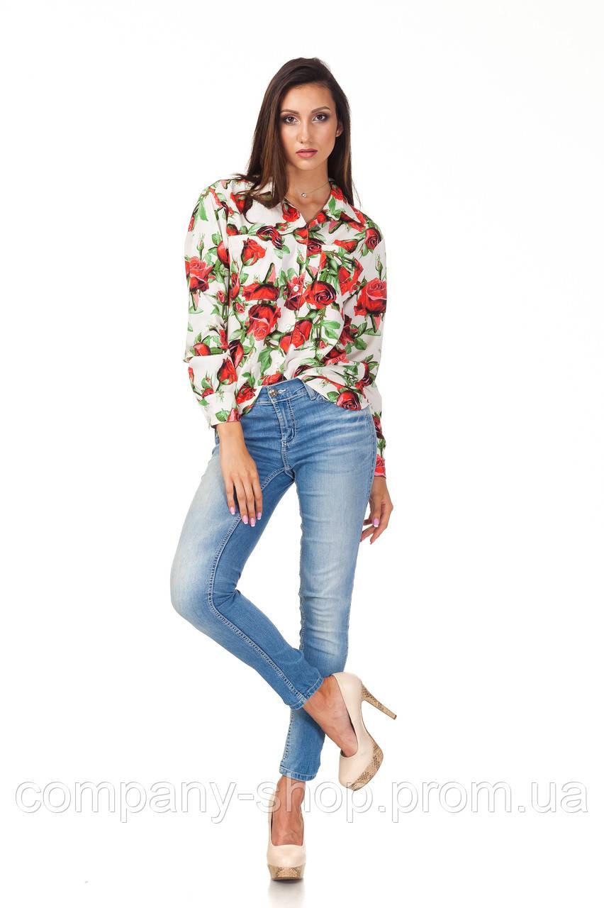 Женская белая рубашка. Модель К090_розы
