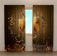 Фото шторы новогодние Рождественское шампанское
