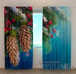 Фото шторы новогодние Шишки