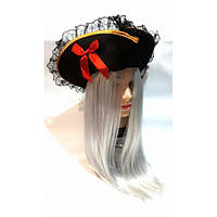 Шляпа Пирата Треуголка с кружевом (мягкий фетр)