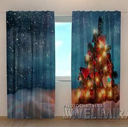 Фото шторы новогодние Елочка в снегу