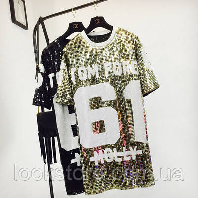 Женское платье туника в стиле Tom Ford 61 с пайетками золотистое