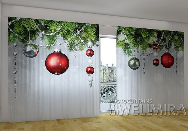 Панорамные фото шторы Рождественские декорации