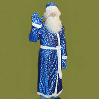 Костюм Деда Мороза с рисунком, взрослый, красный, синий