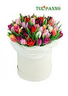 """Коробка тюльпанов """"Праздничное настроение"""""""