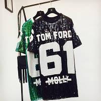 Женское платье туника в стиле Tom Ford 61 с пайетками черное, фото 1