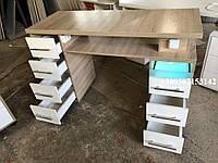 Маникюрный cтол с ультрафиолетом, стол для маникюра с розетками Модель  V234 дуб-сонома / белый, фото 1