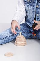 Деревянная игрушка Пирамидка натуральная круг, фото 1