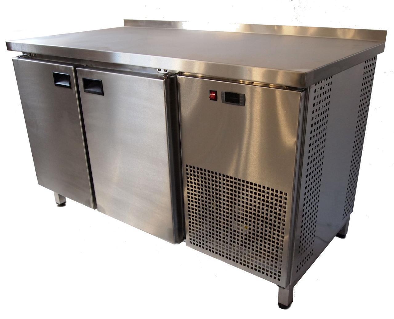 Стол холодильный 1400*700*850 с бортом, 2-х дверный