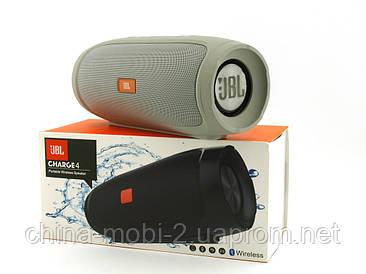 JBL Charge 4 E4 16W копія, портативна колонка з Bluetooth FM MP3, сіра