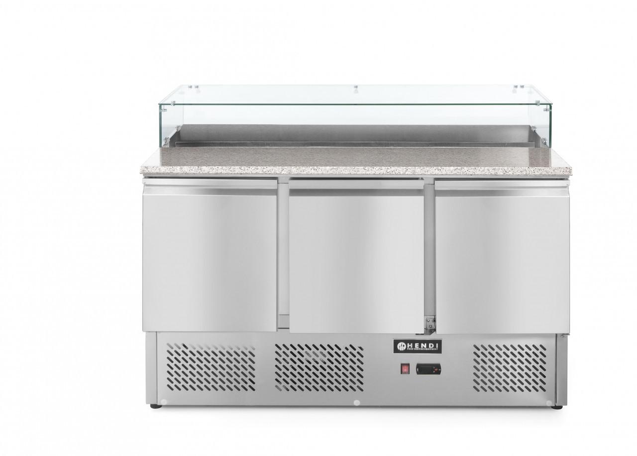 Стол холодильный с надставкой и гранитной столешницей - 3-дверный Hendi