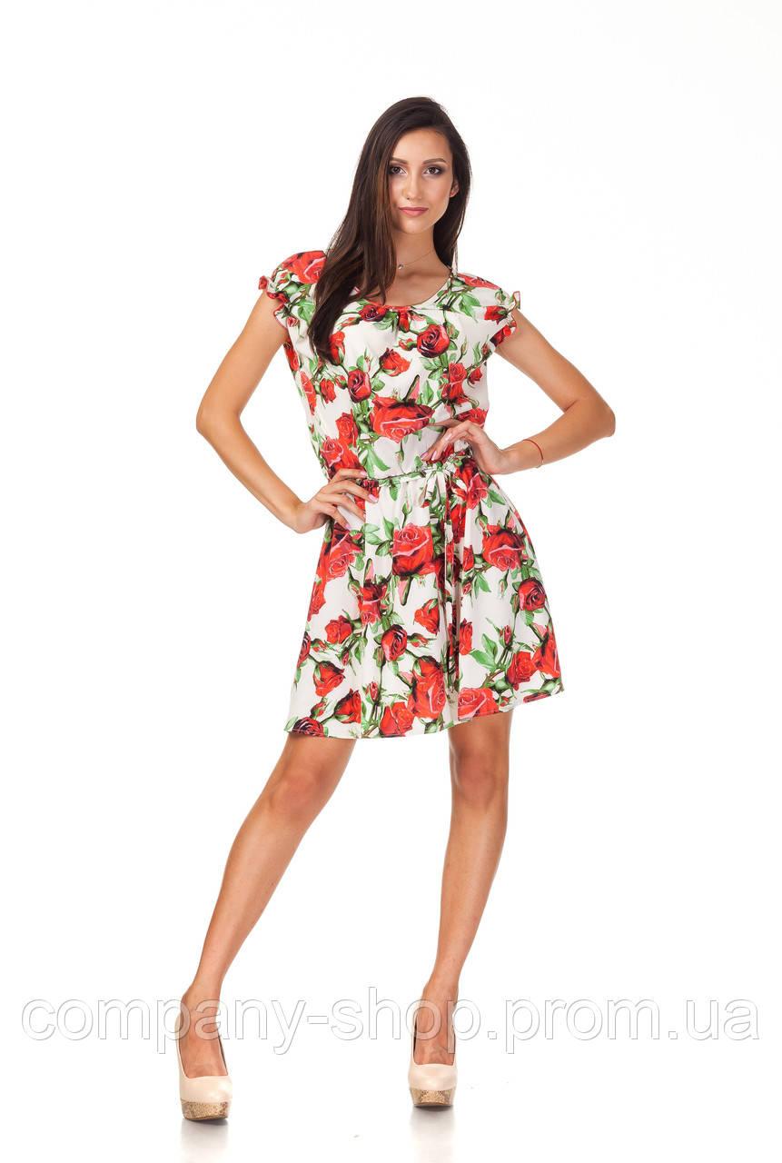 Летнее платье на кулиске. Модель П065_розы