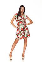 Летнее платье на кулиске. Модель П065_розы, фото 1