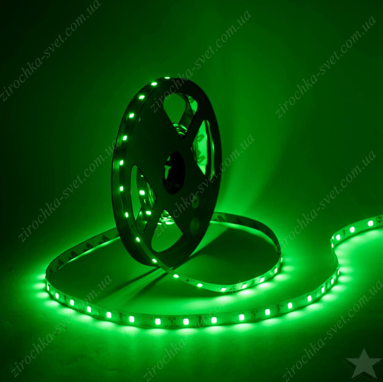 Светодиодная лента зеленая smd5050 12в 60шт/м  IP20 14,4 Вт/м Motoko