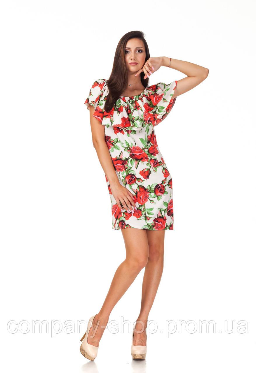 Летнее платье с рюшей на груди. Модель П090_розы, фото 1