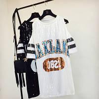 Женское платье туника с открытыми плечами OAKLAND с пайетками белое, фото 1