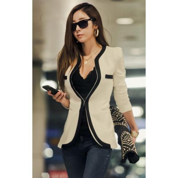 Пиджак классический женский контрастный дизайн, фото 1