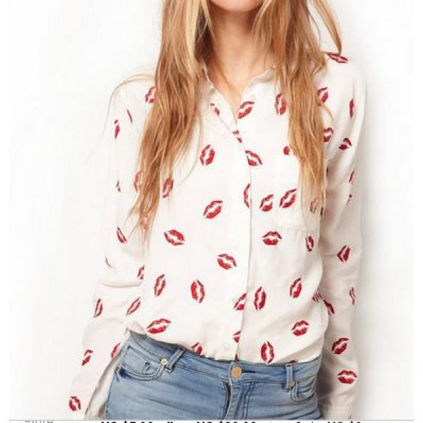 Рубашка женская шифоновая поцелуй, фото 1