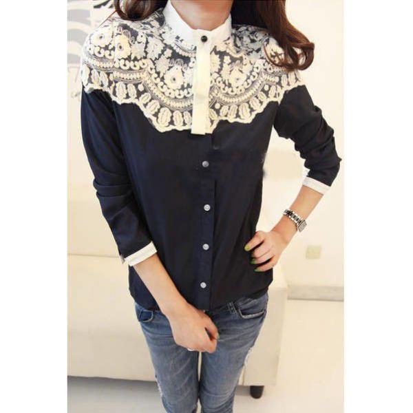 Рубашка женская с кружевом, фото 1