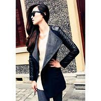 Женское шерстяное пальто рукав с искусственной кожы, фото 1