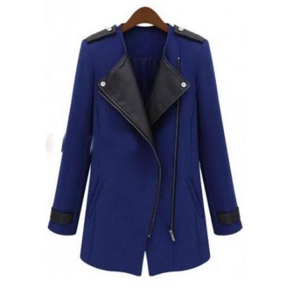 Пальто женское с кожаными вставками демисезонное, фото 1